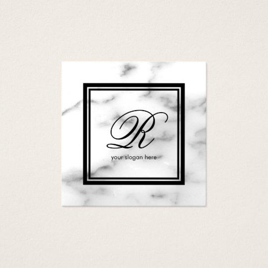 Tarjeta De Visita Cuadrada Piedra de mármol blanca de la plantilla elegante