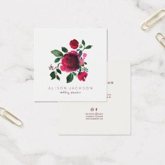 Tarjeta De Visita Cuadrada Planificador de marfil rojo del boda del ramo del