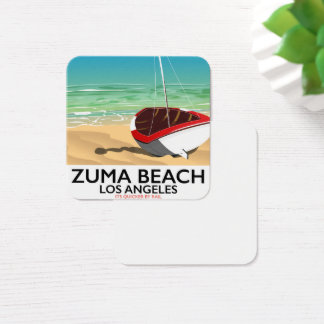 Tarjeta De Visita Cuadrada Poster de la playa del carril del LA de la playa