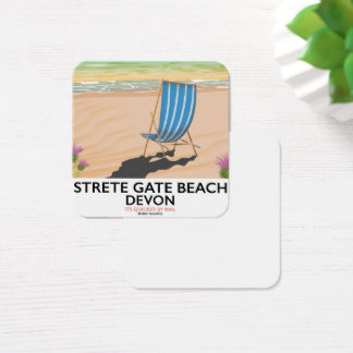 Tarjeta De Visita Cuadrada Poster del viaje de Devon de la playa de la puerta