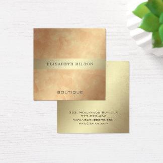 Tarjeta De Visita Cuadrada Raya elegante minimalista del oro de la acuarela