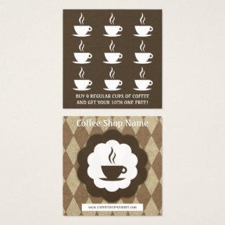 Tarjeta De Visita Cuadrada sacador retro de la lealtad del diamante del café