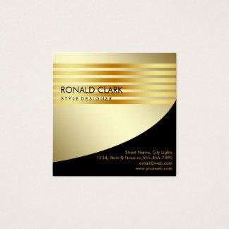 Tarjeta De Visita Cuadrada Servicios financieros metalizado del oro negro