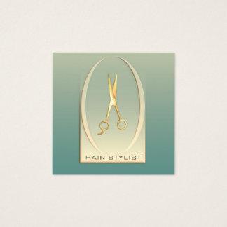 Tarjeta De Visita Cuadrada Tijeras de lujo modernas elegantes del oro de la