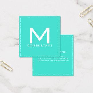 Tarjeta De Visita Cuadrada Turquesa moderna elegante del monograma