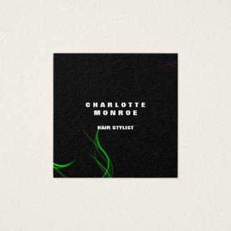 Tarjeta De Visita Cuadrada Verde negro profesional minimalista llano moderno