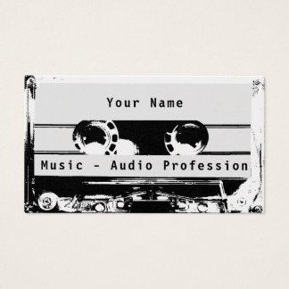 Tarjeta De Visita Cubierta blanco y negro retra del casete de radio