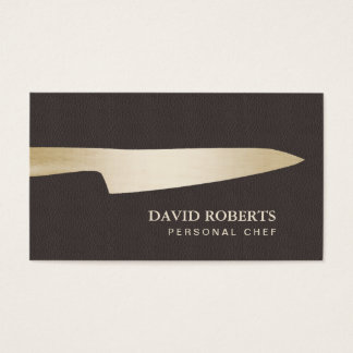 Tarjeta De Visita Cuero marrón oscuro del cuchillo del cocinero del