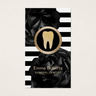 Tarjeta De Visita Cuidado dental floral del negro moderno de las