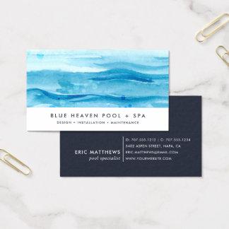 Tarjeta De Visita Cuidado o nadada azul de la piscina de la