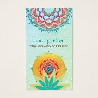 Tarjeta De Visita Cura verde de la yoga del logotipo de la mandala