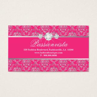 Tarjeta De Visita Damasco elegante del rosa de la plata de los