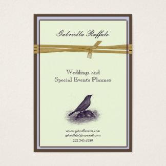 Tarjeta De Visita Damasco elegante y púrpura de Brown del pájaro del
