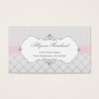 Tarjeta De Visita Damasco elegante y rayas del blanco gris del rosa
