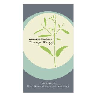 Tarjeta de visita de bambú de la terapia del masaj