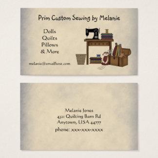 Tarjeta de visita de costura rústica de los artes