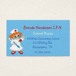Tarjeta de visita de encargo de la enfermera