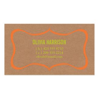 tarjeta de visita de Kraft del marco