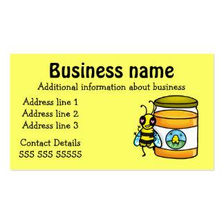 Tarjeta de visita de la abeja y del tarro de la mi
