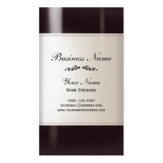 Tarjeta de visita de la botella de vino del