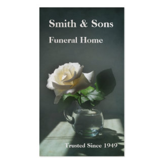 Tarjeta de visita de la funeraria del rosa blanco