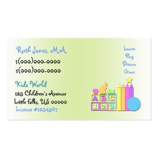 Tarjeta de visita de la guardería del mundo de los tarjetas de visita