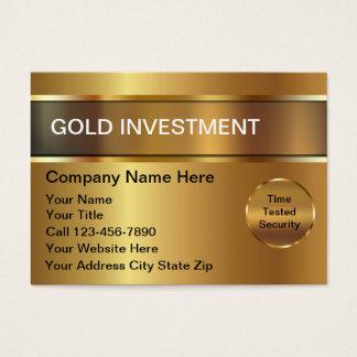 Tarjeta de visita de la inversión del oro