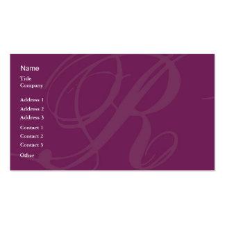 Tarjeta de visita de la letra R