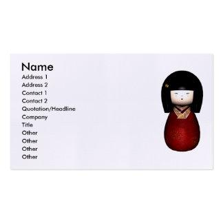 Tarjeta de visita de la muñeca de Kokeshi