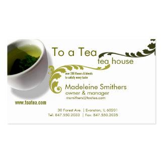tarjeta de visita de la taza de té