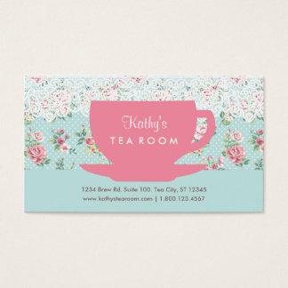 Tarjeta de visita de la taza y de la tetera de té