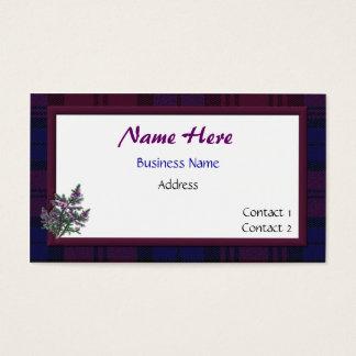 Tarjeta de visita de la tela escocesa y del brezo