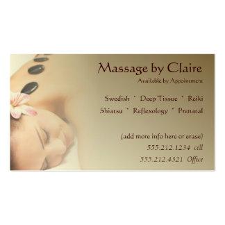 Tarjeta de visita de la terapia del masaje