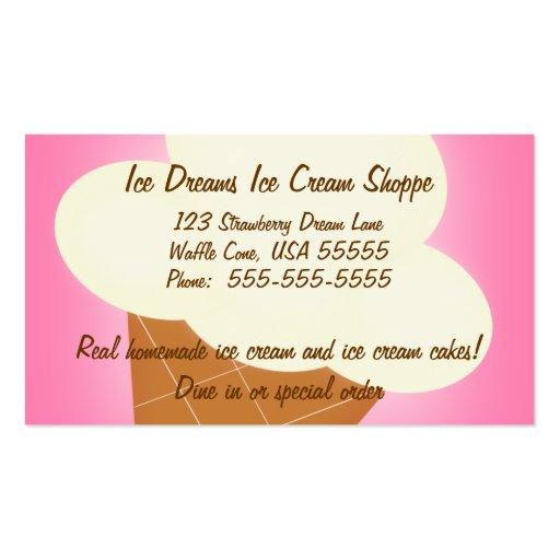 Tarjeta de visita de la tienda de helado