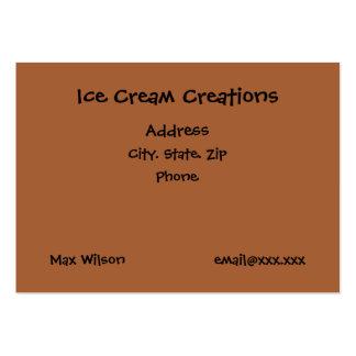 Tarjeta de visita de las creaciones del helado