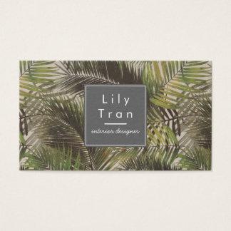 Tarjeta de visita de las hojas de palma del