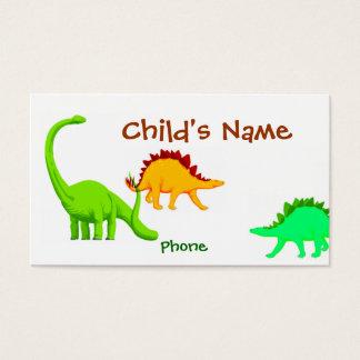 Tarjeta de visita de los niños del dinosaurio