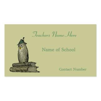 Tarjeta de visita de los profesores