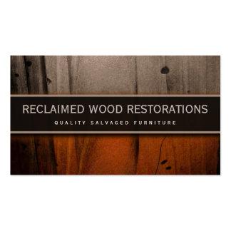 Tarjeta de visita de madera de la restauración de