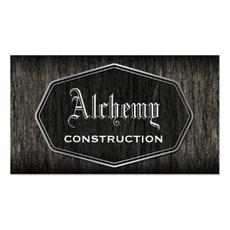 Tarjeta de visita de madera rústica de construcció