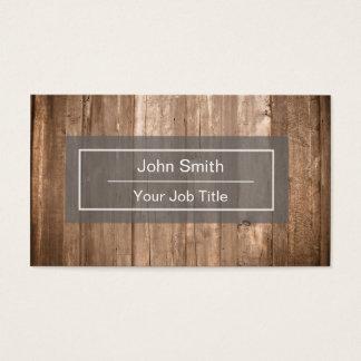 Tarjeta de visita de madera rústica del fondo