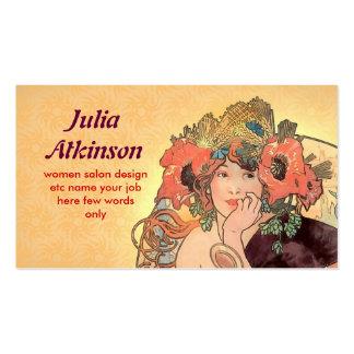 tarjeta de visita de moda hermosa de la cara de la