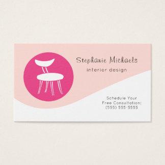 Tarjeta De Visita Decorador de interiores rosado moderno con la