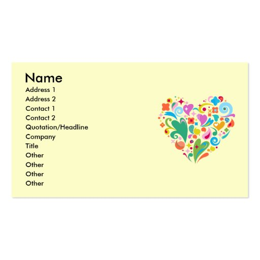 Tarjeta de visita decorativa del corazón