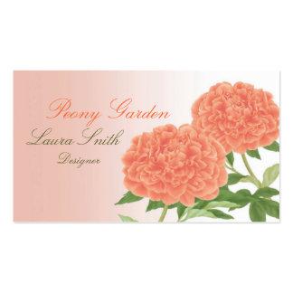 Tarjeta de visita del amor del Peony (naranja)