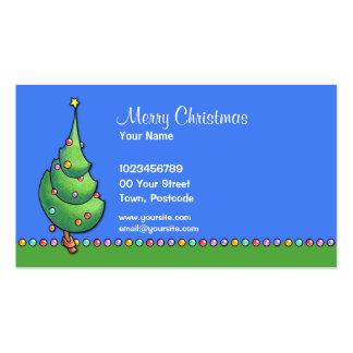 Tarjeta de visita del árbol de navidad blue2