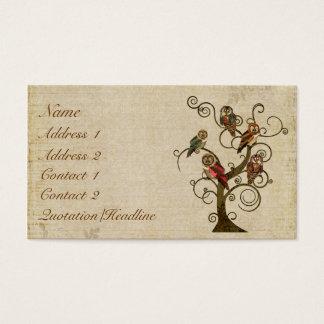 Tarjeta de visita del árbol del búho/etiquetas