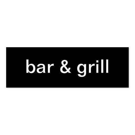 Tarjeta de visita del bar y grill