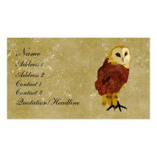 Tarjeta de visita del búho/etiquetas de rubíes de