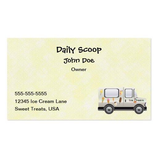 Tarjeta de visita del camión del helado